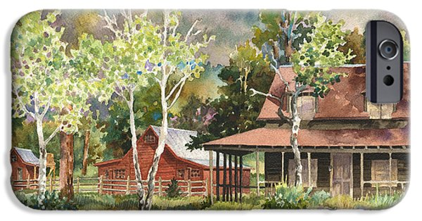 Old Barns iPhone Cases - The DeLonde Homestead at Caribou Ranch iPhone Case by Anne Gifford