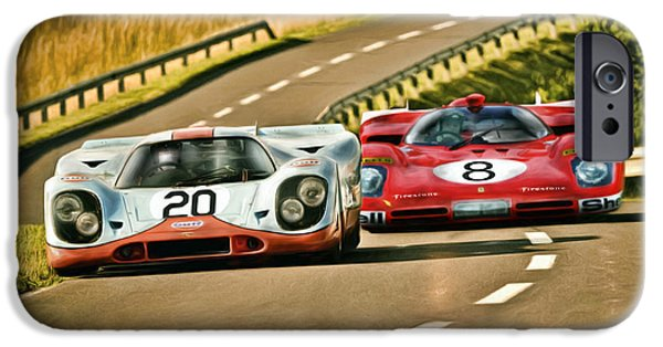 Le Mans 24 iPhone Cases - The Duel iPhone Case by Peter Chilelli