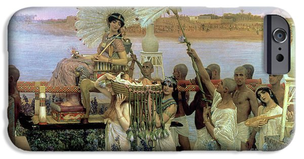 Old Testament iPhone Cases - The Finding of Moses iPhone Case by Sir Lawrence Alma Tadema