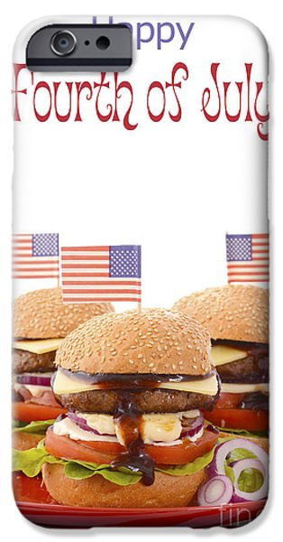 Independance Day iPhone Cases - The Great BBQ Hamburger with Flags iPhone Case by Milleflore Images