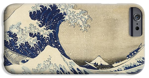 Storm Drawings iPhone Cases - The Great Wave iPhone Case by Katsushika Hokusai