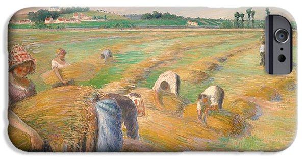 Pissarro iPhone Cases - The Harvest iPhone Case by Camille Pissarro