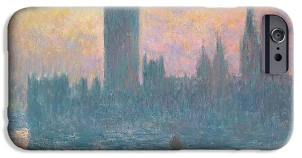 House iPhone Cases - The Houses of Parliament  Sunset iPhone Case by Claude Monet