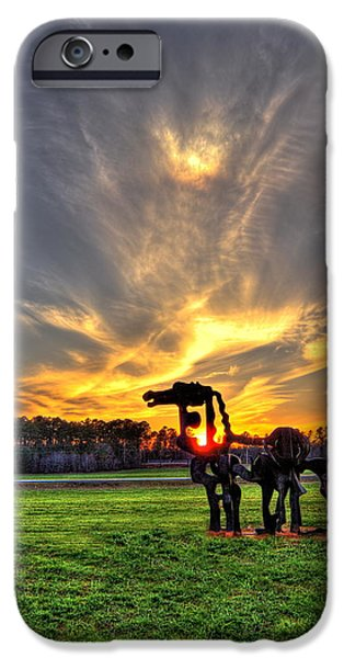 Constitution iPhone Cases - The Iron Horse Sunset  iPhone Case by Reid Callaway