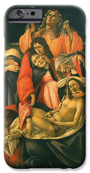 The Followers Paintings iPhone Cases - The Lamentation Over The Dead Christ iPhone Case by Sandro Botticelli