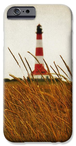 North Sea Mixed Media iPhone Cases - The Lighthouse iPhone Case by Angela Doelling AD DESIGN Photo and PhotoArt