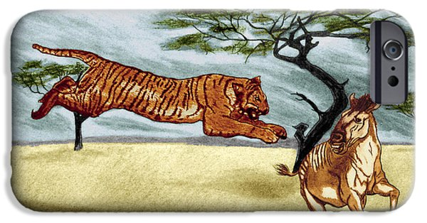 The Tiger Drawings iPhone Cases - The Lunge iPhone Case by Peter Piatt