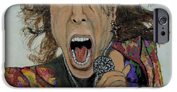 Steven Tyler Paintings iPhone Cases - The madman of rock.Steven Tyler. iPhone Case by Ken Zabel