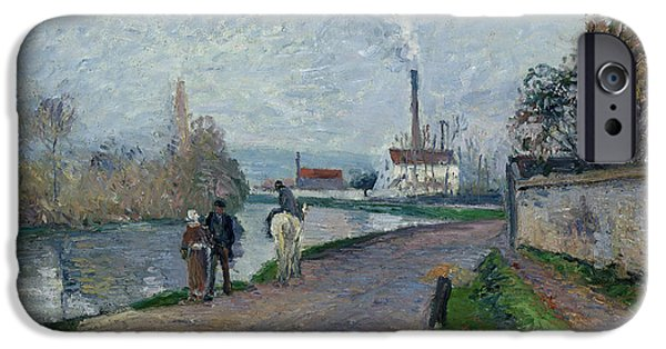 Camille Pissarro iPhone Cases - The Oise near Pontoise in Grey Weather  iPhone Case by Camille Pissarro