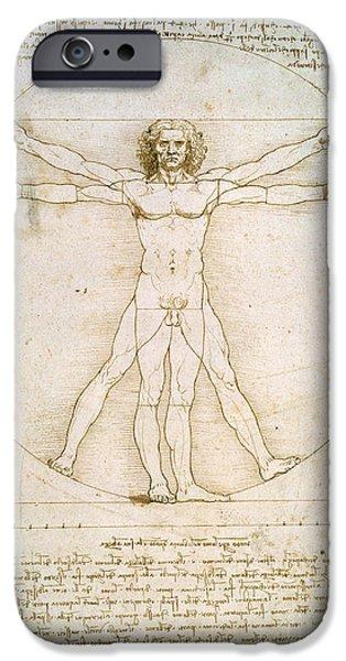 Nudes iPhone Cases - The Proportions of the human figure iPhone Case by Leonardo da Vinci