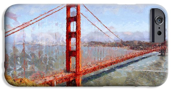 Bay Area Digital iPhone Cases - The San Francisco Golden Gate Bridge . 7D14507 iPhone Case by Wingsdomain Art and Photography