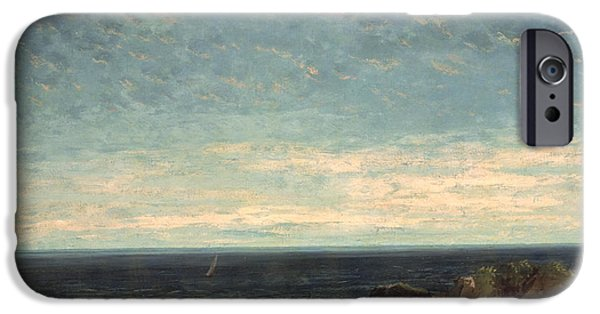 Sailing Paintings iPhone Cases - The Sea iPhone Case by Gustave Courbet