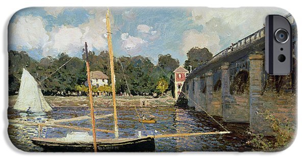 Boat Paintings iPhone Cases - The Seine at Argenteuil iPhone Case by Claude Monet