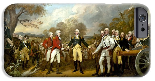 Patriots iPhone Cases - The Surrender of General Burgoyne iPhone Case by War Is Hell Store
