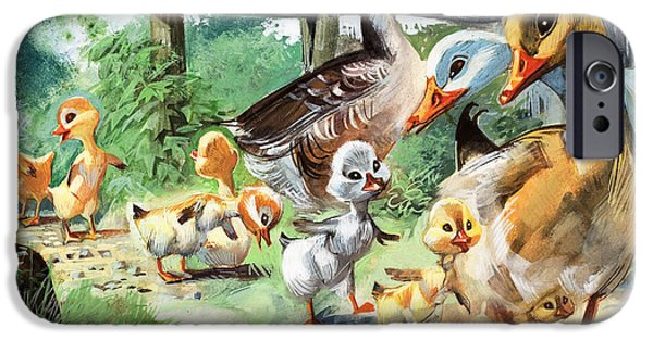 Young Paintings iPhone Cases - The Ugly Duckling iPhone Case by English School