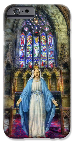 Mother Mary Digital Art iPhone Cases - The Virgin Mary iPhone Case by Ian Mitchell