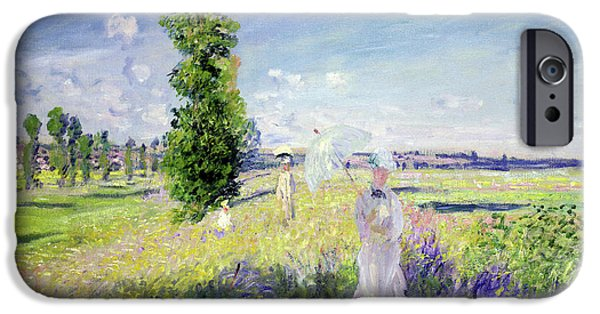 Figures iPhone Cases - The Walk iPhone Case by Claude Monet