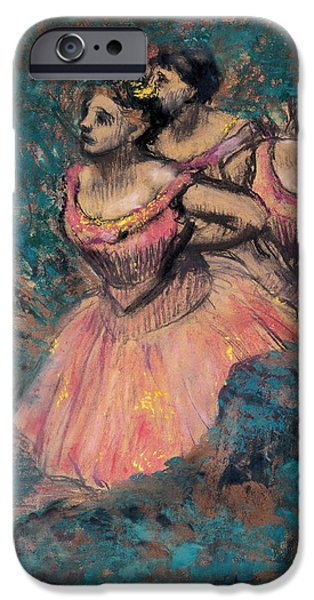 19th Century Pastels iPhone Cases - Three Dancers in Red Costume iPhone Case by Edgar Degas