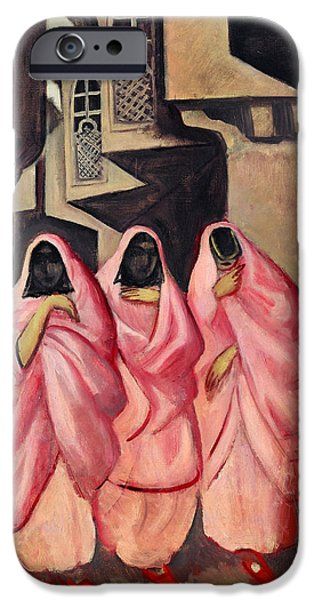 Baghdad Paintings iPhone Cases - Three Women on the Street of Baghdad iPhone Case by Jazeps Grosvalds