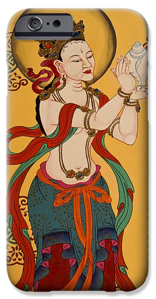 Tibetan Buddhism iPhone Cases - Tibetan Buddhist Mural iPhone Case by Michele Burgess