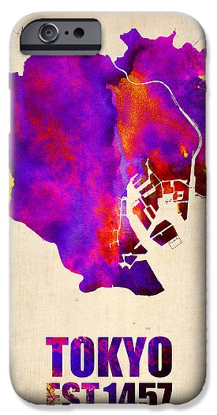 Tokyo iPhone Cases - Tokyo Watercolor Map 2 iPhone Case by Naxart Studio