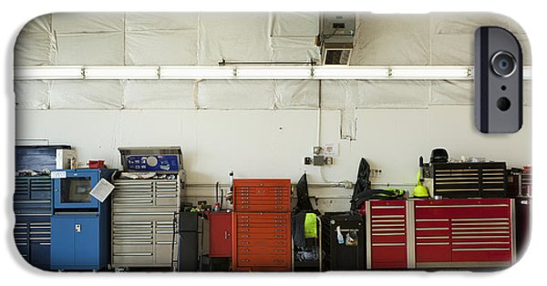 Work Tool iPhone Cases - Tool Chests In An Automobile Repair Shop iPhone Case by Don Mason