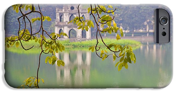Ruin iPhone Cases - Tree with View of Hoan Kiem Lake, Hanoi, Vietnam, Asia iPhone Case by David Buffington