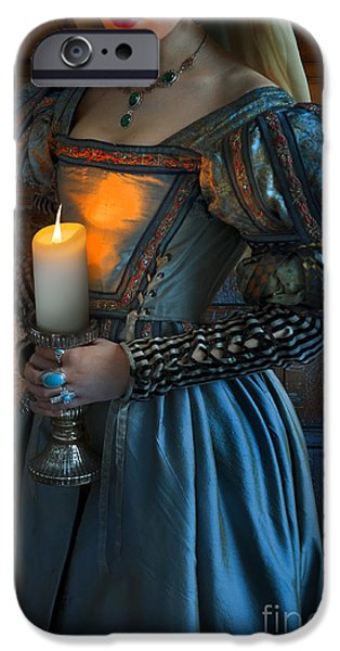 Duchess iPhone Cases - Tudor Woman Holding A Candle iPhone Case by Lee Avison