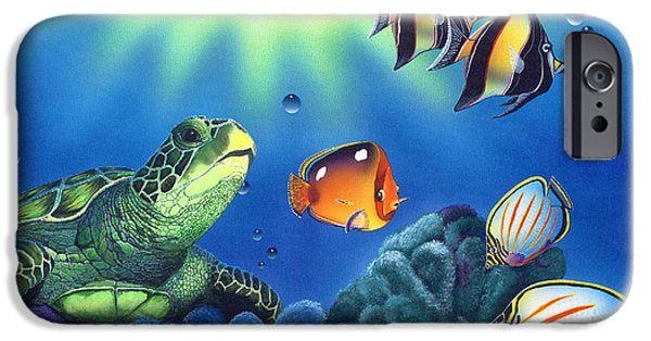 Ocean Turtle Paintings iPhone Cases - Turtle Dreams iPhone Case by Angie Hamlin