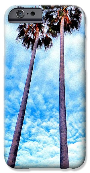 Palm Tree Greeting Cards iPhone Cases - Twin Palms iPhone Case by Daniele Smith