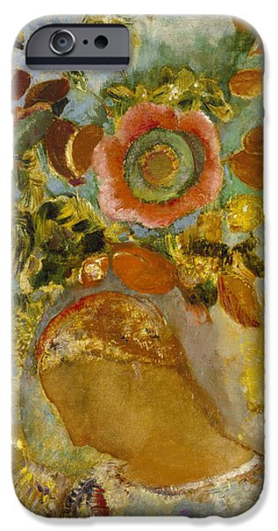 Young iPhone Cases - Two Young Girls Among Flowers iPhone Case by Odilon Redon