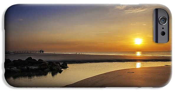 Beach Landscape iPhone Cases - Tybee Island Sunrise iPhone Case by Jamie Anderson
