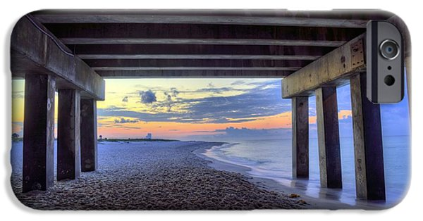 Beach At Night iPhone Cases - Under the Gulf Shores Pier iPhone Case by JC Findley