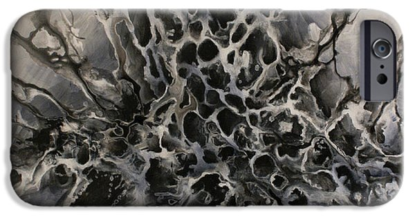 Monotone Paintings iPhone Cases - Untitled 1 iPhone Case by Michael Lang