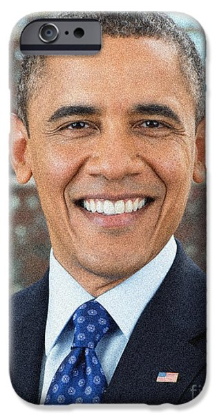 Barack Obama iPhone Cases - U.S. President Barack Obama iPhone Case by Celestial Images