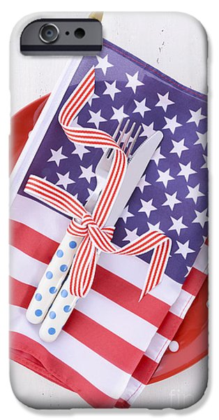Independance Day iPhone Cases - USA party table place setting with flag on white wood table.  iPhone Case by Milleflore Images