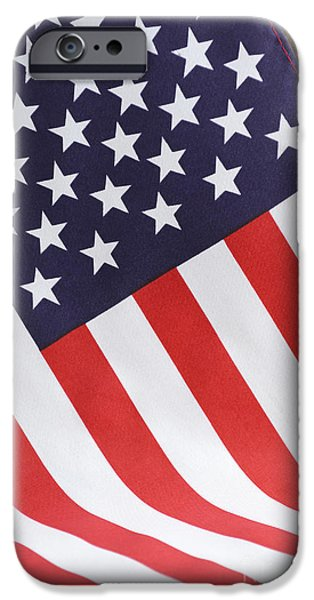 Independance Day iPhone Cases - USA Stars and Stripes Flag on Dark Wood iPhone Case by Milleflore Images