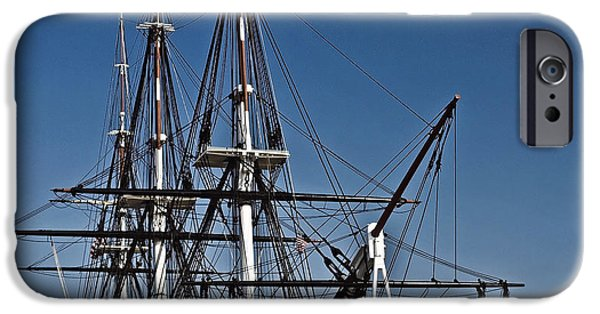 Sailing iPhone Cases - Uss Constitution Bos106 iPhone Case by Howard Stapleton