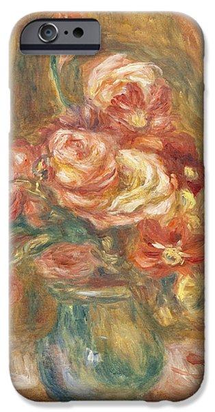 Pierre Auguste Renoir iPhone Cases - Vase of Roses iPhone Case by Pierre Auguste Renoir