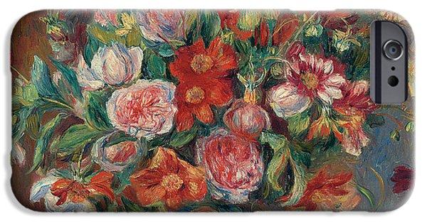 Pierre Auguste Renoir iPhone Cases - Vase with Flowers iPhone Case by Pierre Auguste Renoir