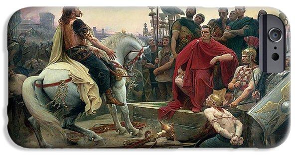 Roman Emperor iPhone Cases - Vercingetorix throws down his arms at the feet of Julius Caesar iPhone Case by Lionel-Noel Royer