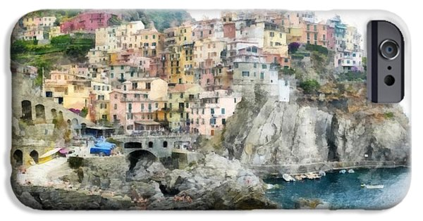 Old Town Digital iPhone Cases - Vernazza Italy In The Cinque Terra iPhone Case by Edward Fielding