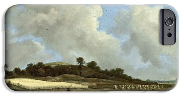 River View iPhone Cases - View of Grainfields with a Distant Town iPhone Case by Jacob van Ruisdael