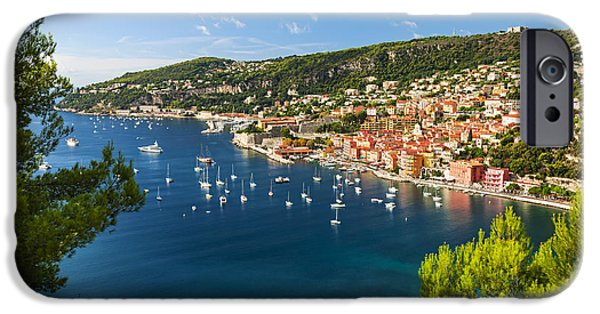 Village iPhone Cases - Villefranche-sur-Mer and Cap de Nice on French Riviera iPhone Case by Elena Elisseeva