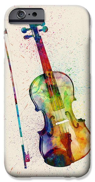 Strings Digital iPhone Cases - Violin Abstract Watercolor iPhone Case by Michael Tompsett