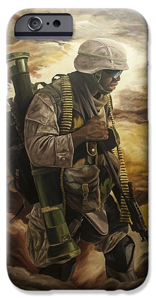 Infantryman Paintings iPhone Cases - Warrior iPhone Case by Annette Redman