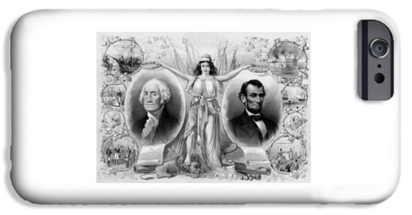 Revolutionary War Mixed Media iPhone Cases - Washington and Lincoln iPhone Case by War Is Hell Store