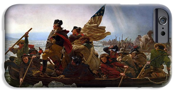 Flag iPhone Cases - Washington Crossing The Delaware iPhone Case by Emanuel Leutze