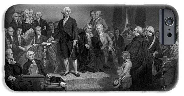 Revolutionary War Mixed Media iPhone Cases - Washington Delivering His Inaugural Address iPhone Case by War Is Hell Store