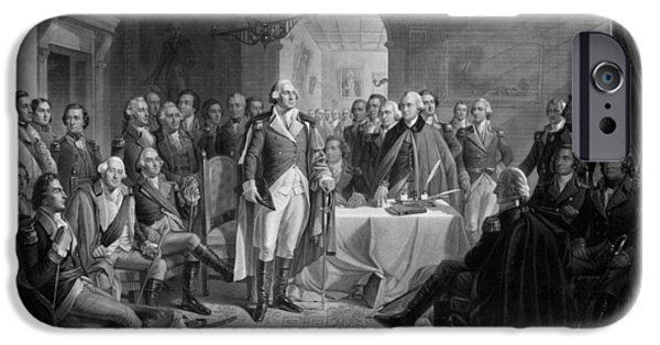 Patriotism Mixed Media iPhone Cases - Washington Meeting His Generals iPhone Case by War Is Hell Store